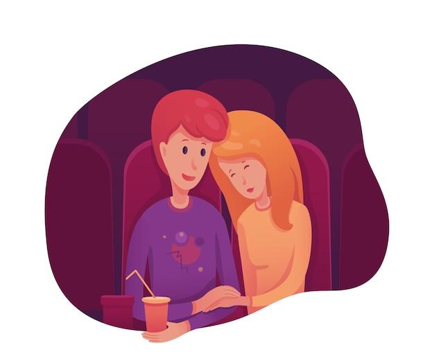 Couple Au Cinéma, Garçon Et Fille Ayant Une Soirée Romantique Vecteur Premium