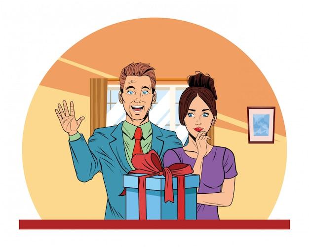 Couple avatar avec boîte cadeau pop art Vecteur gratuit
