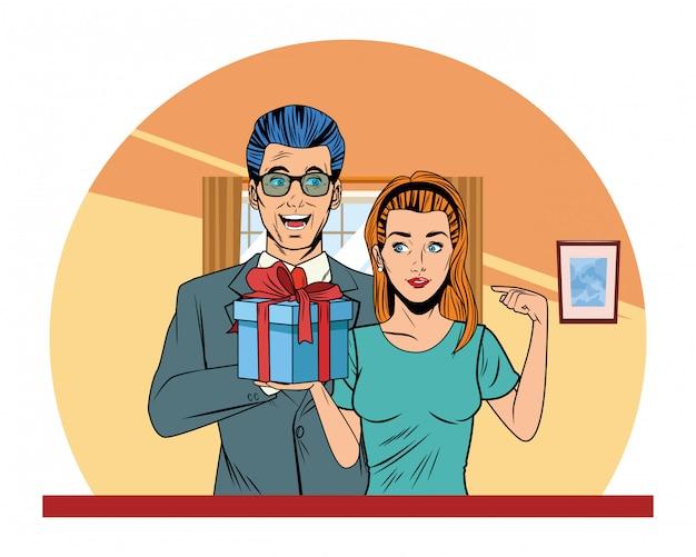 Couple avatar avec coffret cadeau Vecteur gratuit