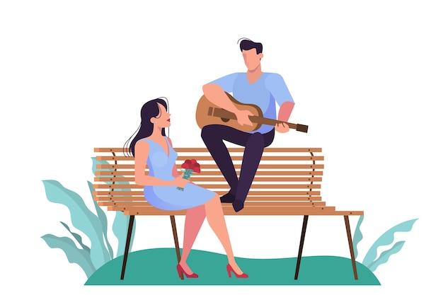 Un Couple Ayant Un Rendez-vous Dans Le Parc, Personnage Romantique. Homme Jouant De La Guitare Pour Femme. Vecteur Premium
