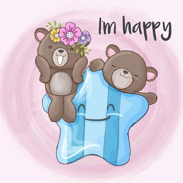 Couple bébé ours dessiné à la main Vecteur Premium