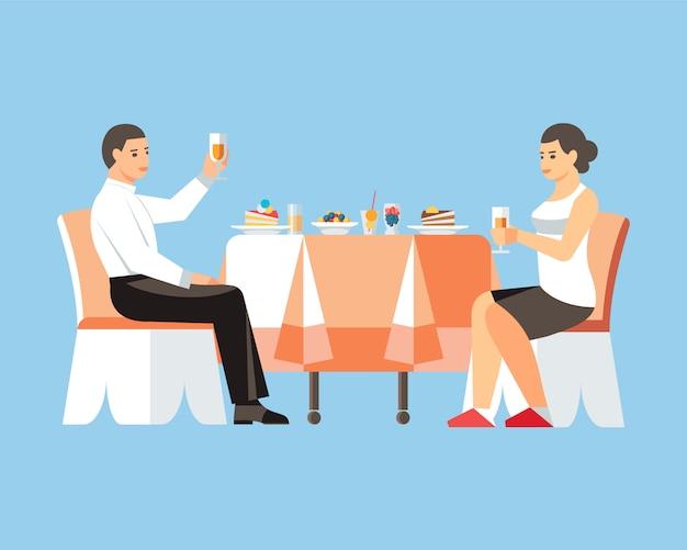 Couple, boire, vin, plat, illustration vectorielle Vecteur Premium
