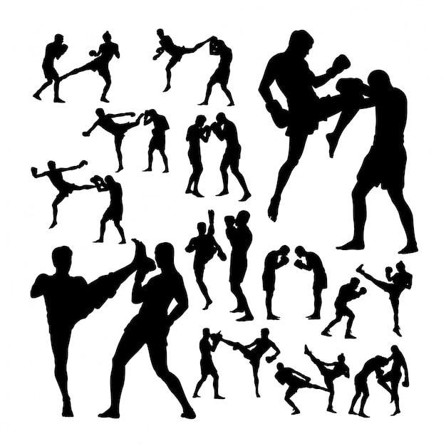 Couple, Boxe Thaï, Art Martial, Silhouettes Vecteur Premium