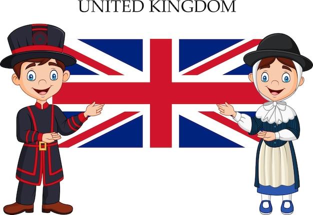 Couple britannique dessin animé portant un costume traditionnel Vecteur Premium
