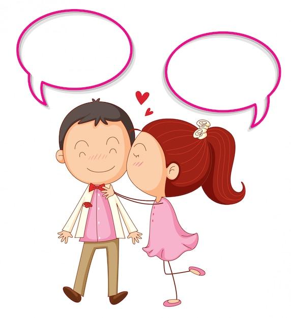 Couple avec bulles Vecteur gratuit