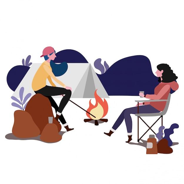 Couple, camping, ensemble, conception illustration Vecteur Premium