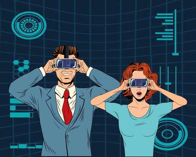 Couple avec casque de réalité virtuelle Vecteur Premium