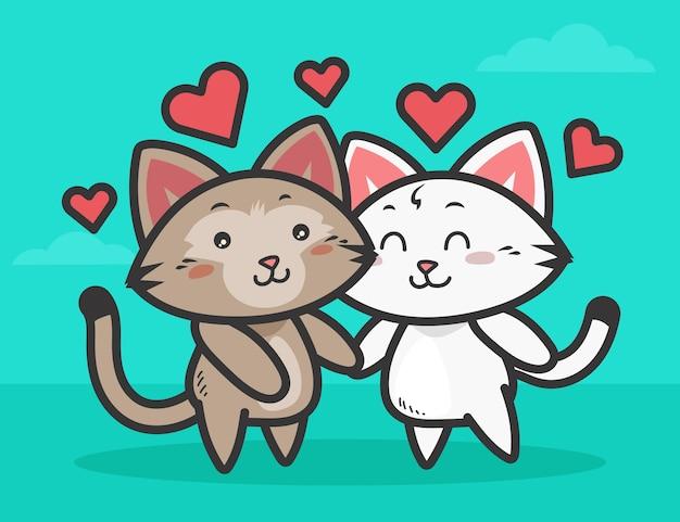 Couple De Chat Mignon Saint Valentin Vecteur gratuit