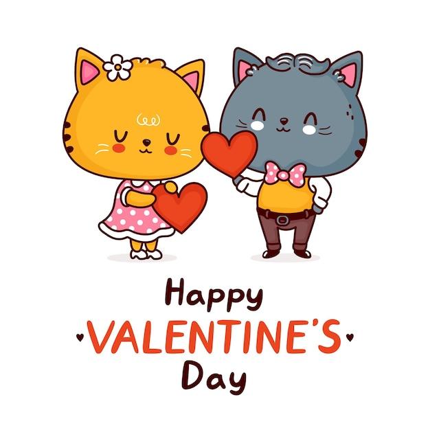 Couple De Chats Drôles Mignons Avec Des Coeurs. Joyeuse Saint Valentin Vecteur Premium