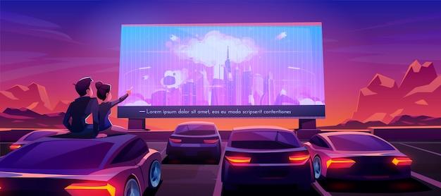 Couple, cinéma voiture, dater, dans, théâtre drive-in Vecteur gratuit