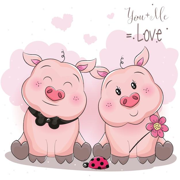 Couple cochon mignon avec fleur Vecteur Premium