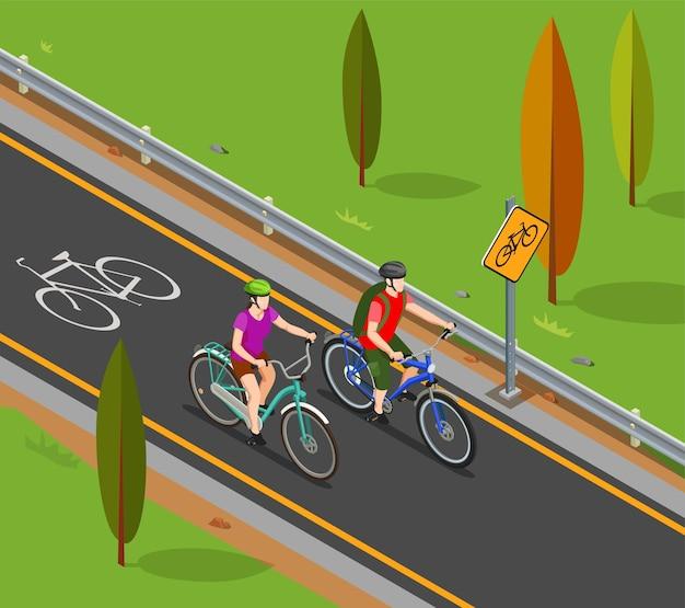 Couple De Composition Isométrique Du Tourisme à Vélo Pendant La Balade à Vélo Sur La Piste Cyclable Vecteur gratuit