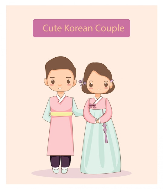 Couple coréen mignon en costume traditionnel. Vecteur Premium