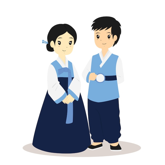 Couple coréen en vecteur de robe traditionnelle hanbok Vecteur Premium
