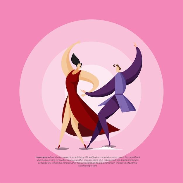 Couple couple dansant Vecteur Premium