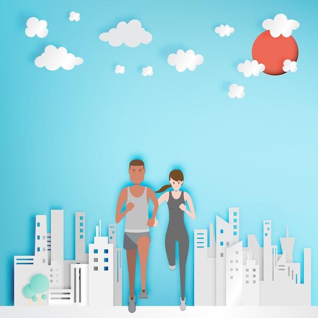 Couple en cours d'exécution avec la ville de papier Vecteur Premium