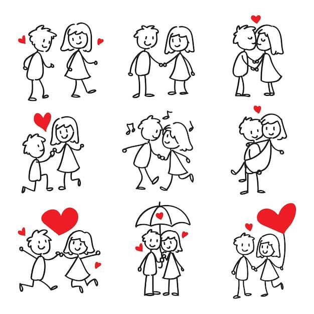 couple dans l u0026 39 amour stick figure doodle
