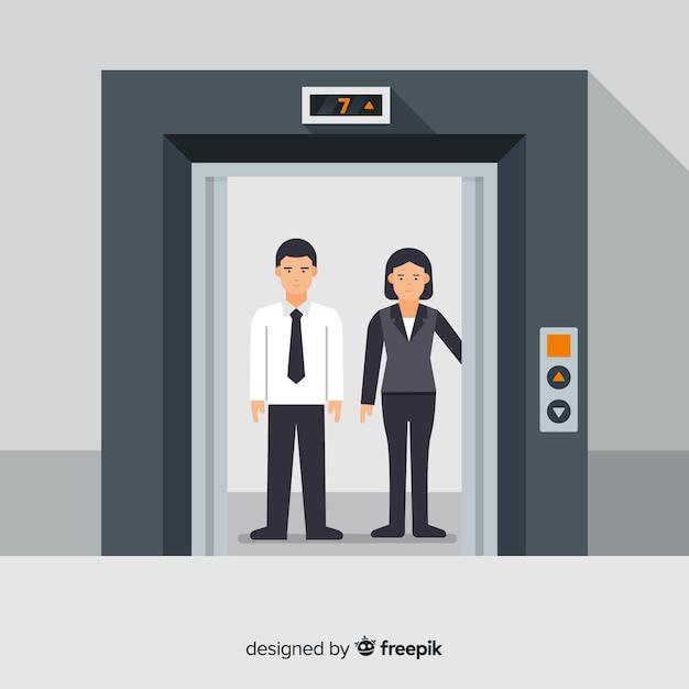 Couple Dans L'ascenseur Vecteur gratuit