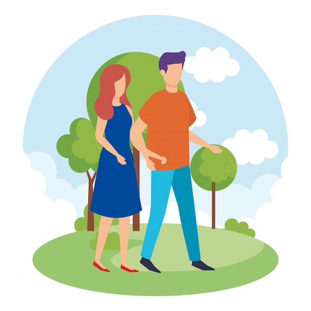 Couple dans les personnages du parc Vecteur gratuit