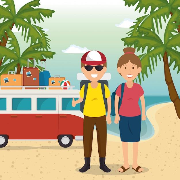 Couple dans les personnages de la plage Vecteur gratuit
