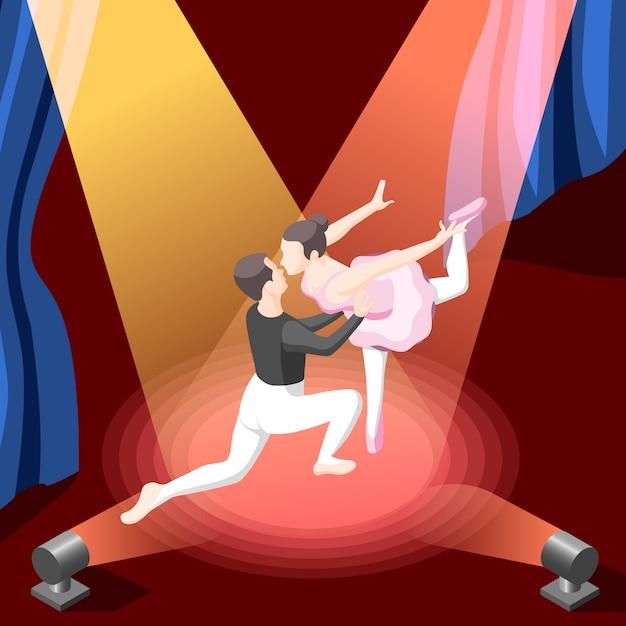 Couple De Danse Isométrique Sous Les Projecteurs Vecteur gratuit