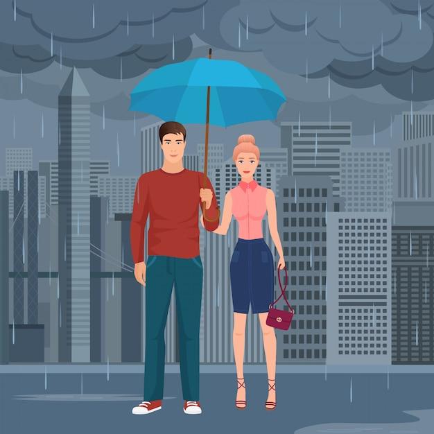 Couple debout sous un parapluie Vecteur Premium