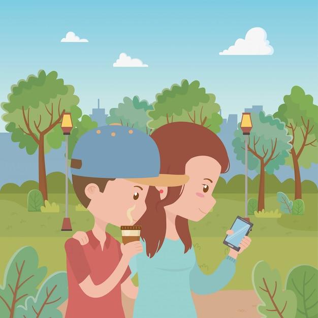 Couple de dessin animé femme et homme Vecteur gratuit