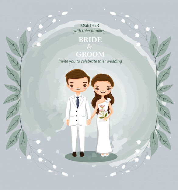 Couple de dessin animé mignon pour carte d'invitations de mariage Vecteur Premium