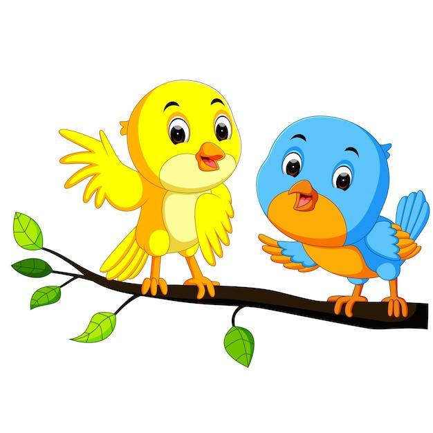 Couple De Dessin Anime Oiseau Sur Une Branche Telecharger Des