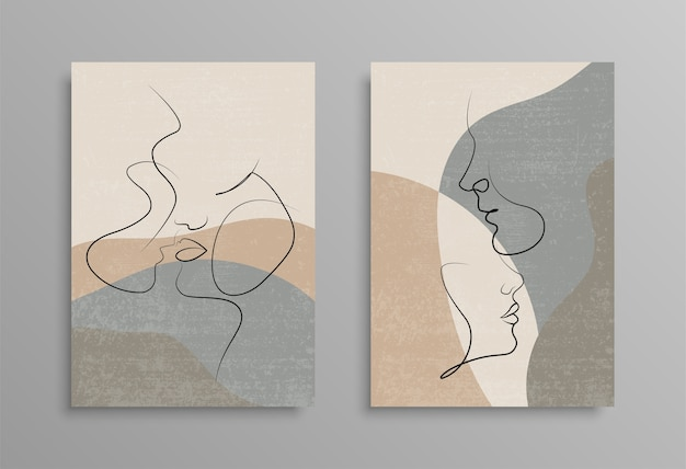 Couple Un Dessin Au Trait. Conception D'affiche De Couverture. Impression D'amour. Couple S'embrassant Dessin Au Trait. Stock . Vecteur Premium