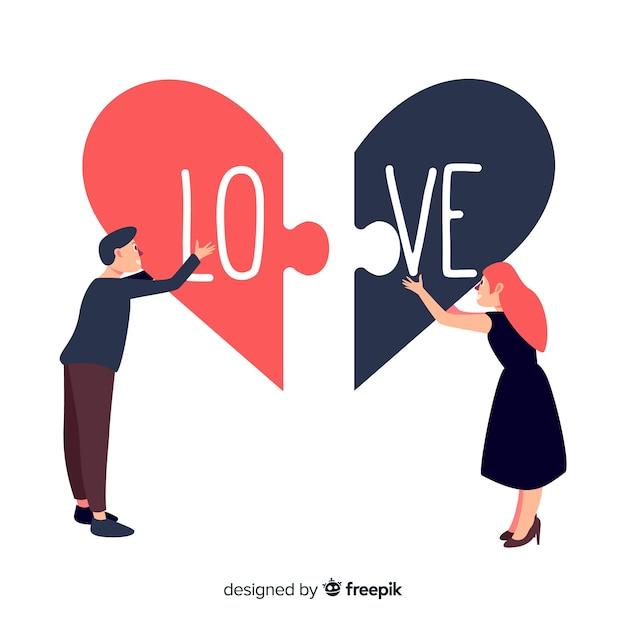 Couple dessiné à la main reliant des pièces du puzzle Vecteur gratuit