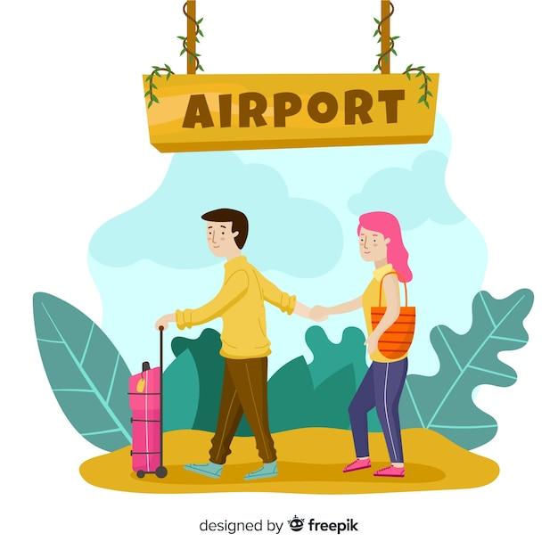 Couple dessiné à la main voyageant de fond Vecteur gratuit