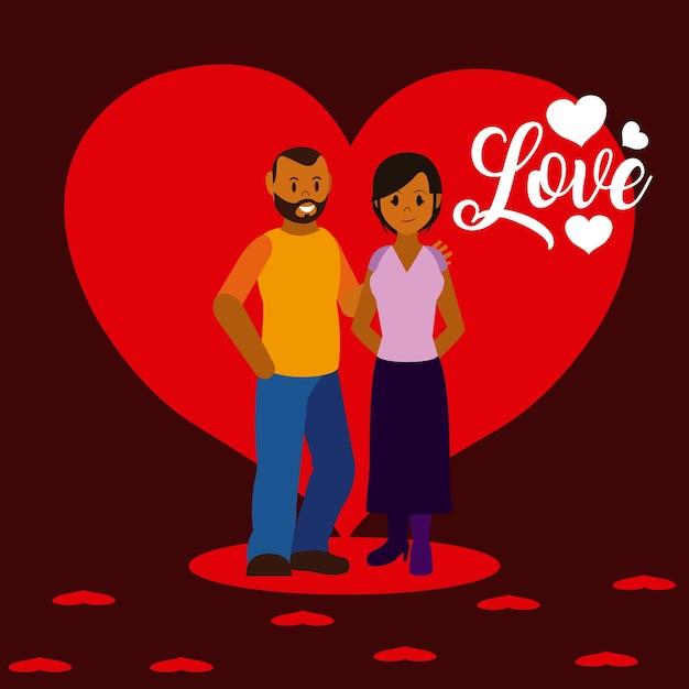 Couple De Dessins Animes D Amour Vecteur Premium