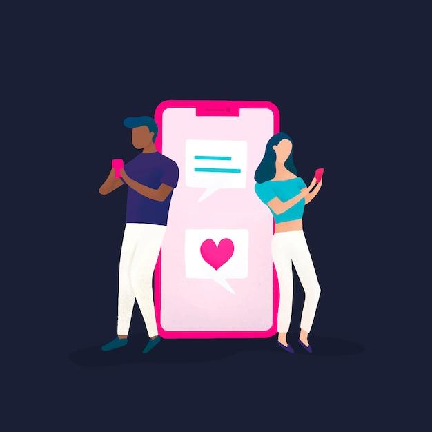 Couple discutant sur le vecteur de médias sociaux Vecteur gratuit