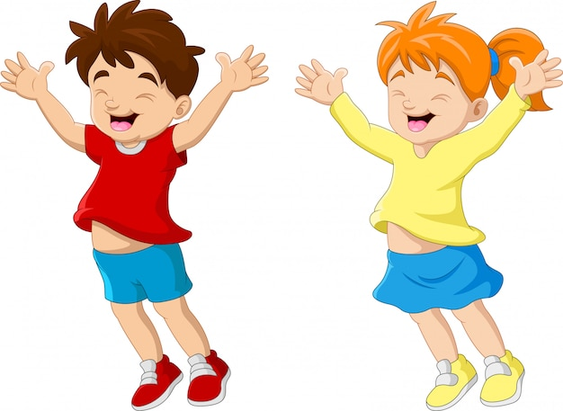 Couple Drole De Dessin Anime Enfant Heureux Vecteur Premium