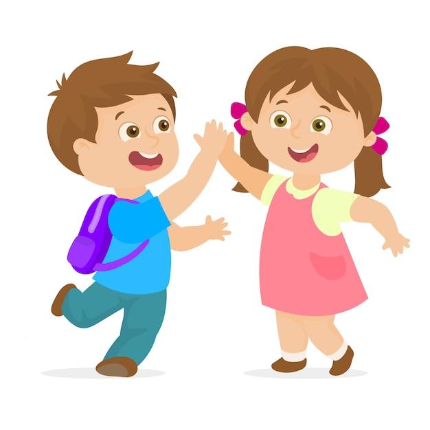 Couple d'élèves du primaire Vecteur Premium