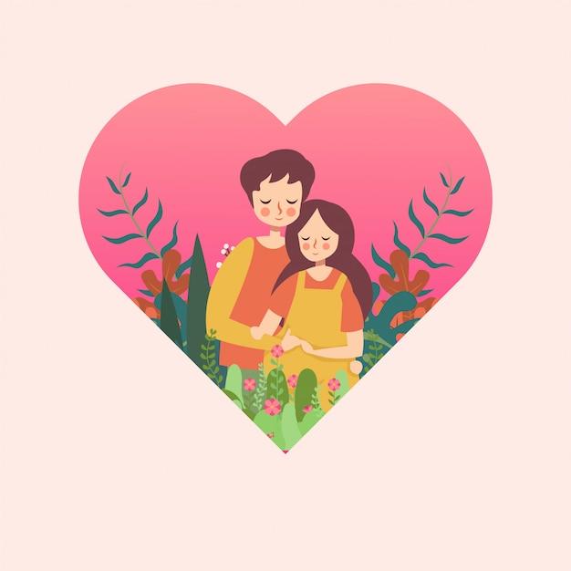 Couple enceinte au coeur Vecteur Premium
