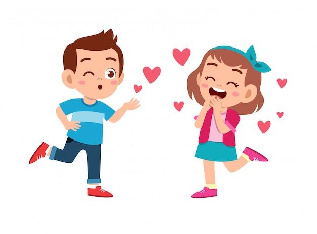 Couple d'enfants amoureux Vecteur Premium