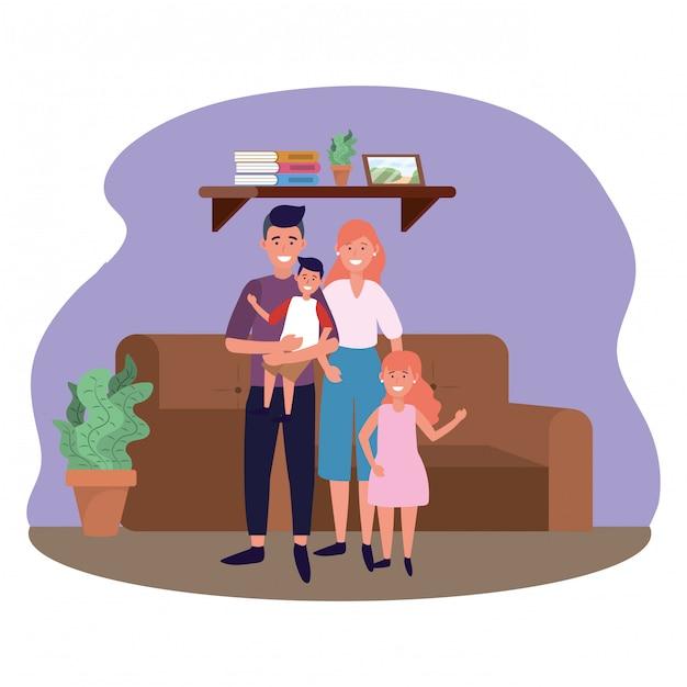 Couple avec enfants Vecteur Premium