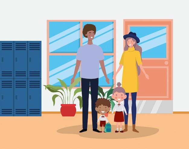 Couple enseignant avec petits élèves enfants dans le couloir de l'école Vecteur gratuit