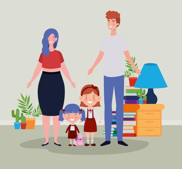 Couple enseignant avec petits étudiants enfants dans chambre Vecteur gratuit
