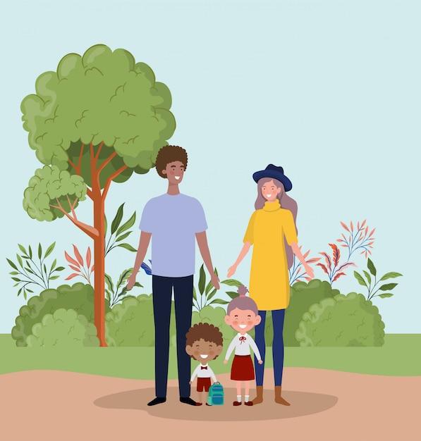 Couple enseignant avec petits étudiants enfants dans le paysage Vecteur gratuit