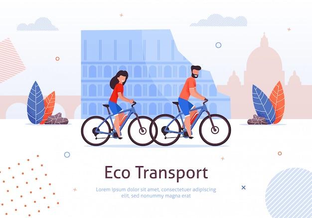 Couple, équitation, vélos, voyager, dans, italie, bannière Vecteur Premium