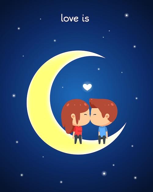 Un couple est assis sur la lune et s'embrasse Vecteur Premium