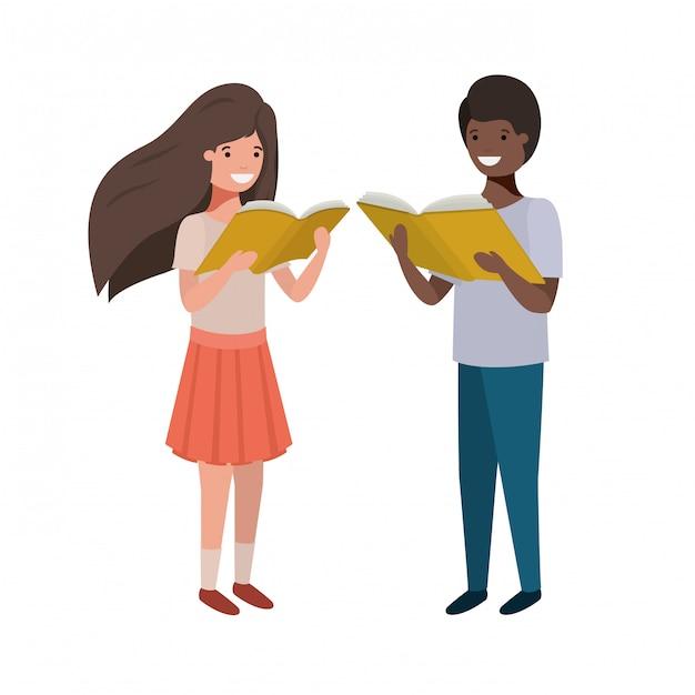 Couple d'étudiant avec livre de lecture dans les mains Vecteur gratuit
