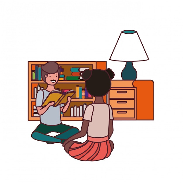 Couple d'étudiant avec livre de lecture Vecteur gratuit