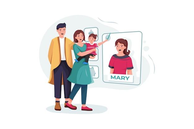 Couple De Famille Avec Bébé Choisissant Nounou En Ligne. Vecteur Premium