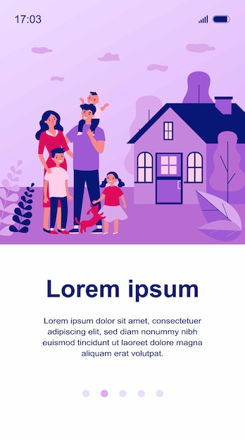 Couple De Famille Heureux Avec Enfants Et Animal De Compagnie Debout Ensemble à L'extérieur De L'illustration Vecteur Premium