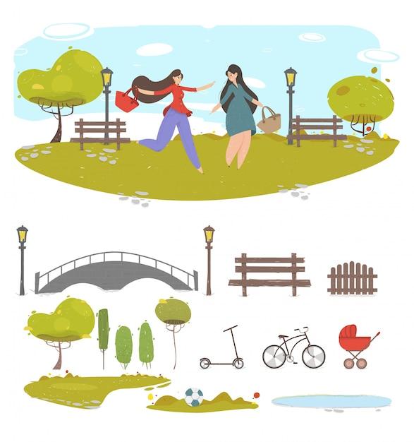 Couple Fille Amis Marchant Dans Summer City Park, Ensemble D'éléments Pour La Création Vecteur Premium