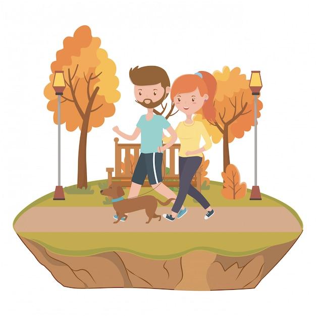 Couple de garçon et fille avec chien Vecteur gratuit
